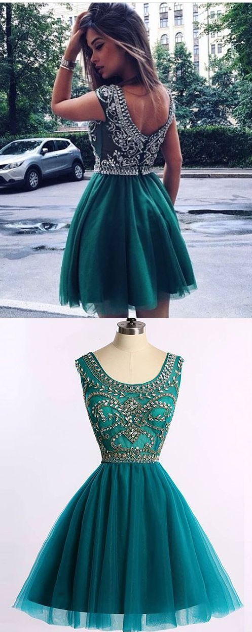 Uhc0047, Modern, A-line, Turquoise, Prom Dress, - Short Scoop Sleeveless, with Beading homecoming dresses