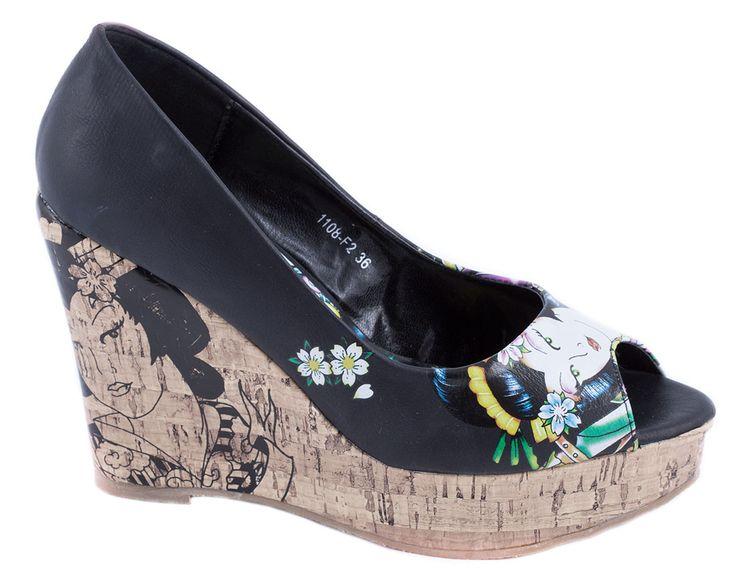 Pantofi cu platforma - Pantofi negri cu platforma 1108-F2N - Zibra