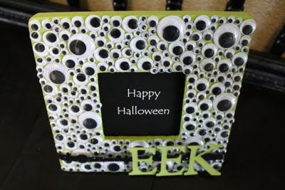 Super easy Halloween craft w/ cheap wood frame, paint, glue and googly eyes.