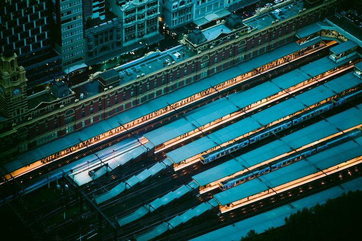 photographer William Watt.:  Flinders Street Station.  Evening.  Melbourne Australia