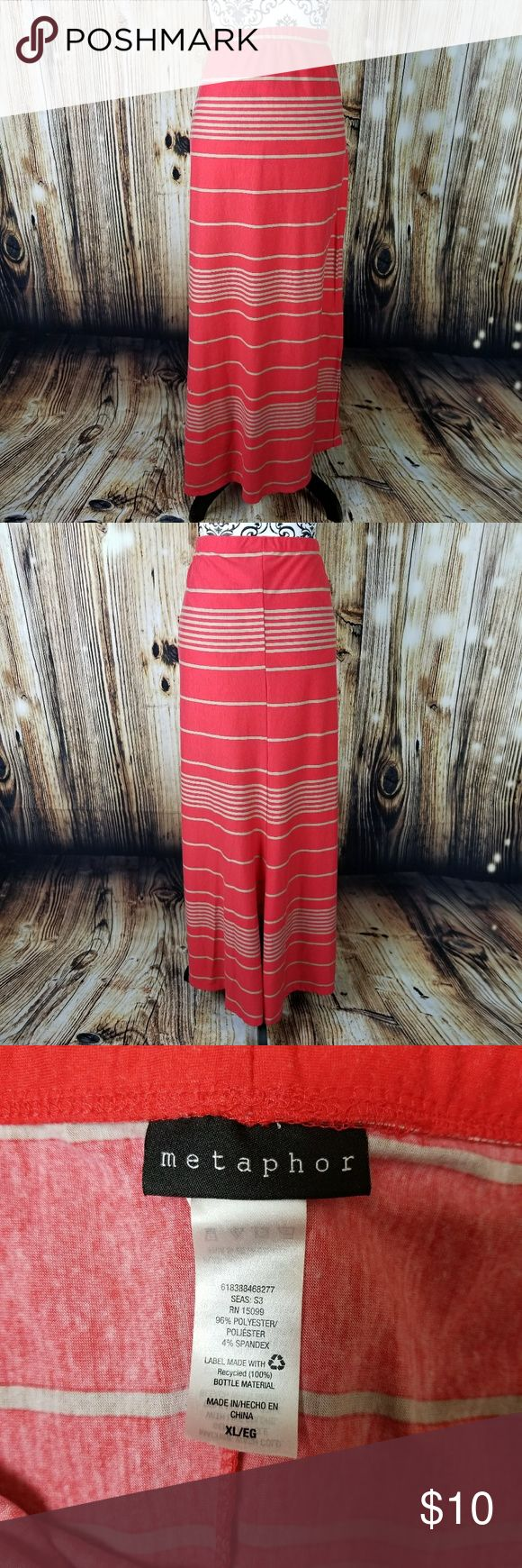 Orange and Tan Stripped Maxi Skirt XL Size XL Orange and Tan Stripped Maxi Skirt from Metaphor. It does show some pilling.  All approximate measurements are taken flat and unstretched Waist: 17.5 inches Hips: 21 inches Length: 41.5 inches Metaphor Skirts