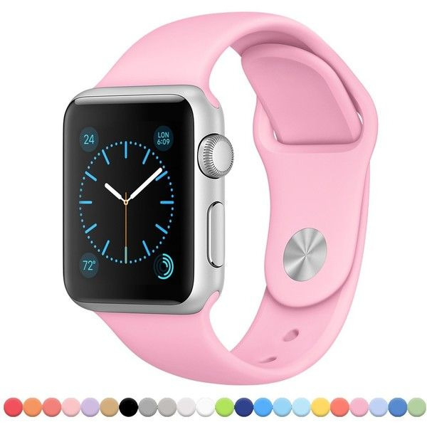 Apple Watch Band FanTEK Soft Silicone Sport Style Replacement iWatch... ($11) ❤ liked on Polyvore featuring jewelry, watches, pink wrist watch, silicone sport watches, sport wrist watch, sports jewelry and silicone sports watches