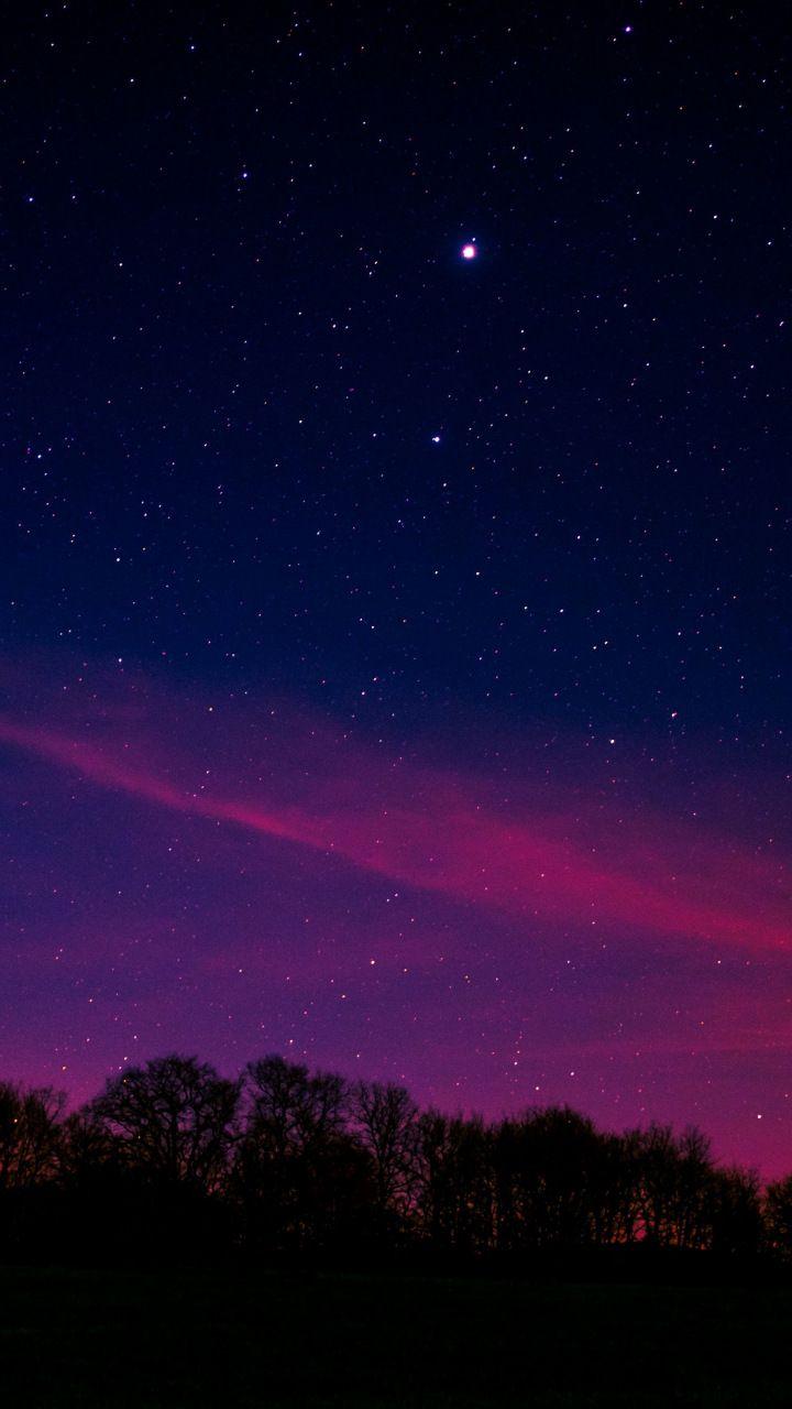 Blue Pink Sky  Starry Night  Nature  720x1280 Wallpaper