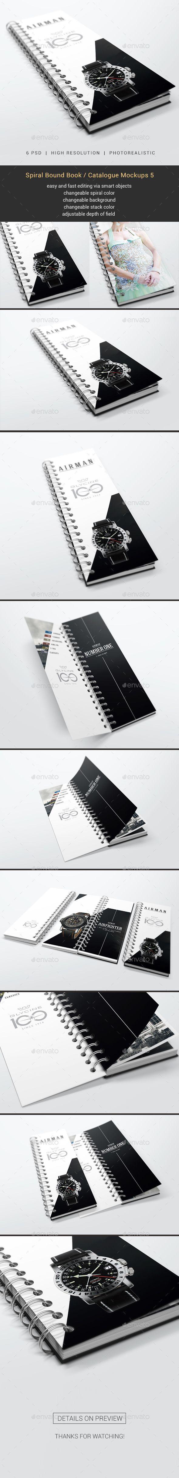 Spiral Bound Book / Catalogue Mockups