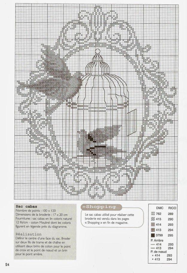 0 point de croix grille et couleurs de fils cage à oiseaux, colombes