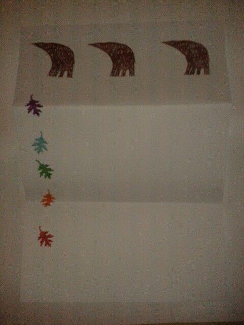 Stationery-papel de cartas osos y hojas- made by pececito arcoiris