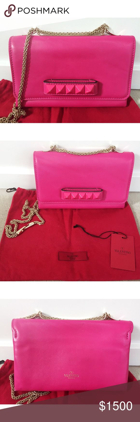 Valentino Garavani Hot Pink Cross Body Bag Hot pink leather cross body purse with stud detail and chain strap that converts so you can wear it long, double it up, or take it off altogether to use the purse as a clutch. Comes with dust bag and tag. Barely used, looks new except for tiny chips in the enamel on the studs. Valentino Garavani Bags Crossbody Bags