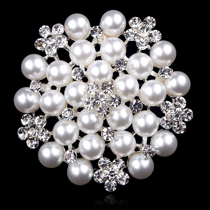 Classic Simulated Pearl Bridal Brooch Pins with Clear Crystal Rhinestones for Women Bride or Wedding DIY Bouquets