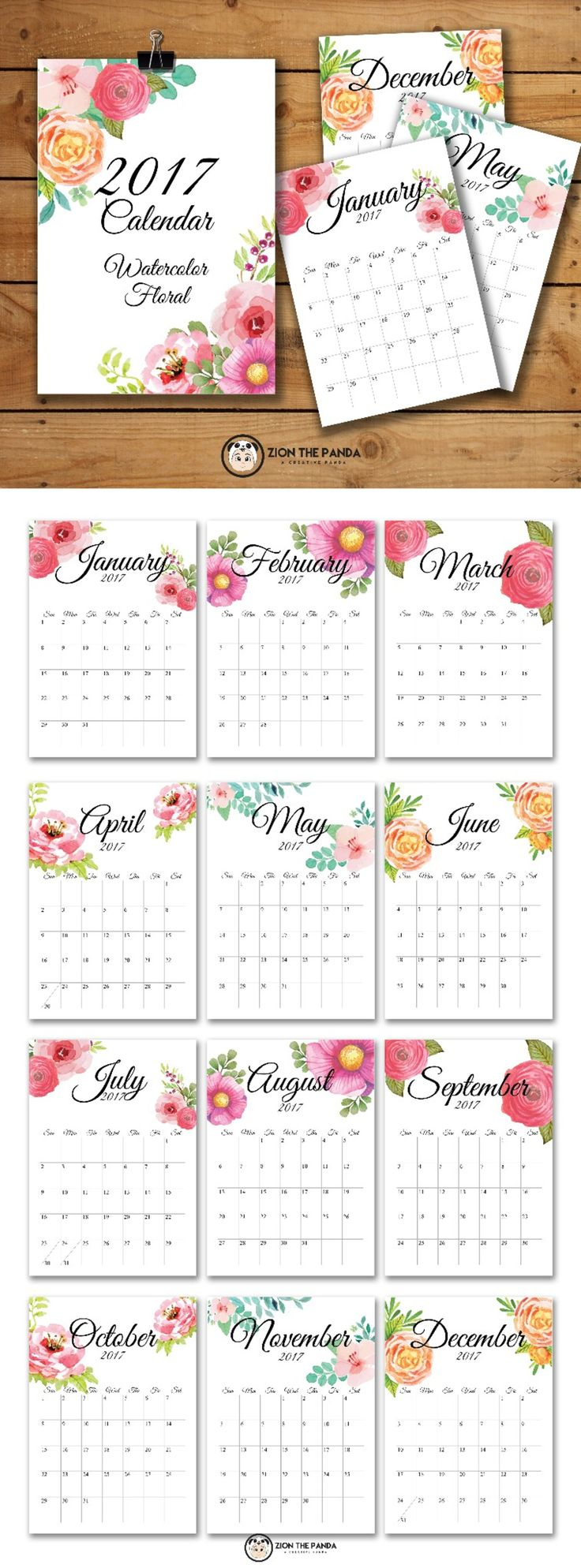 2017 Monthly CalendarWatercolor Floral designYou will get a rar file  containing 12 individual month plus title