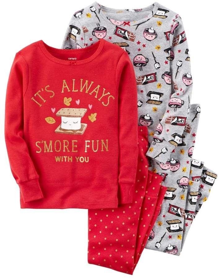 New Carters 4-Piece Teacup Snug Fit Cotton Pajamas Toddler 3 4