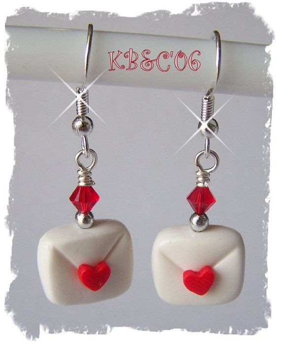 Polymer Clay Valentine Love Letter Earrings by KalindsClayDesigns, $5.00