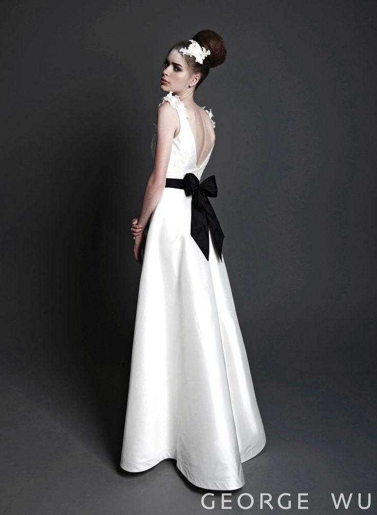 Aurelia dress - silk, French lace with silk lining and black silk sash. Made in Australia.  Repin for your own #wedding #inspiration.  #bridal #couture #design #gowns #lace