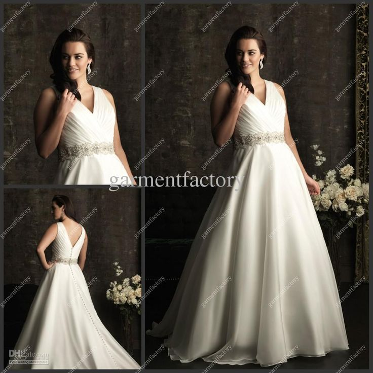 Wholesale A-Line Wedding Dresses - Buy Plus Size Wedding Dresses 2013 V-neck A Line Chapel Train Beaded Ivory Organza Bridal Gowns, $153.41 | DHgate