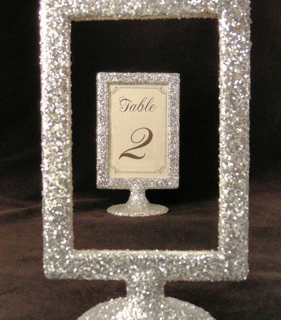 Glitter Wedding Decor Picture Frame Table Number Holders Silver Or Party