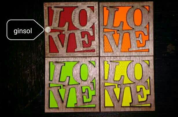 «love» decorativos, corté láser sobre madera.