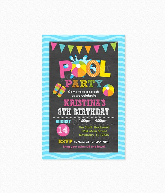 Best Pool Party Birthday Party Invitations  Ideas Images On