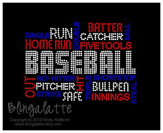 Baseball Phrases Bling or Rhinestone Tshirt, Baseball Mom, Sports Mom, Bling Shirt, Rhinestone Shirt on Etsy, $28.00
