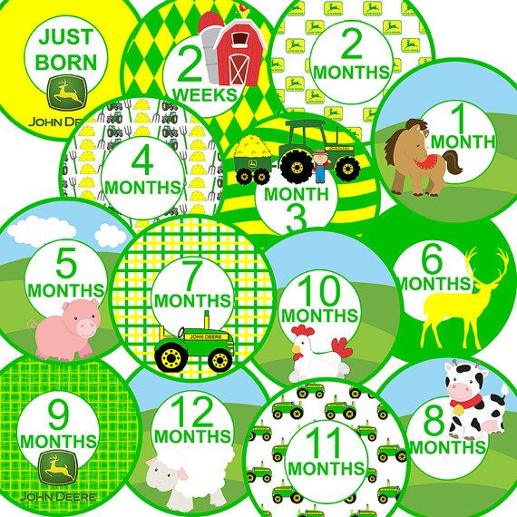 14 John Deere Farm Tractor Barn Cow Pig Sheep Chicken Unisex Neutral Baby Boy or Girl Monthly Milestone Onesie Stickers Newborn Shower Gift