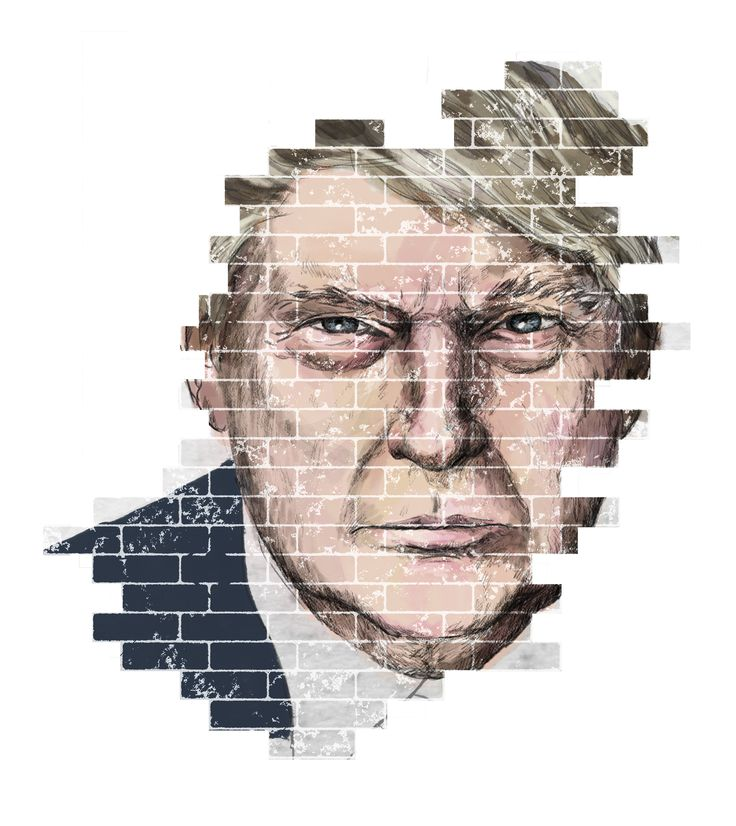 Trump and the Wall. Editorial Illustration for Amnesty Magazine by Eeva Meltio.
