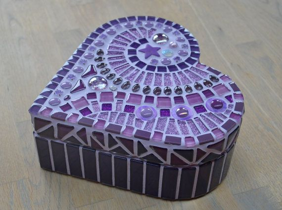 Purple glass mosaic heart shaped box by mimosaico on Etsy