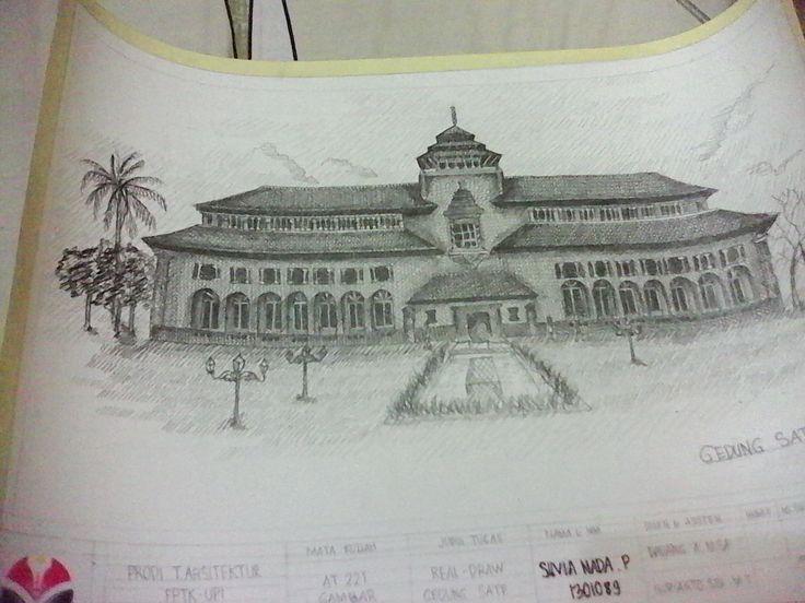 """Gambar Arsitektur, Real Draw """"Gedung Sate"""""""