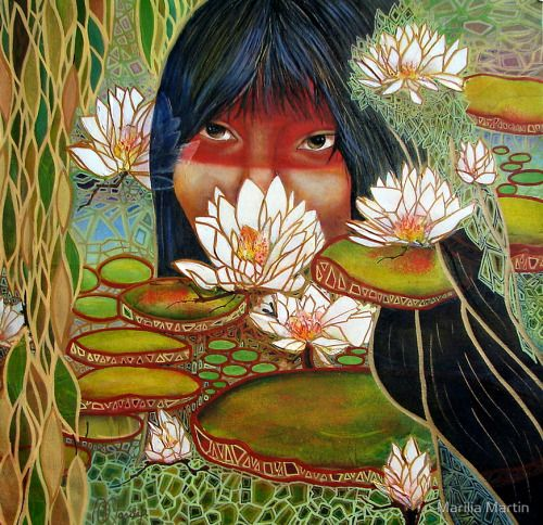 """pachatata: """"Iara, also spelled Uiara or Yara, is the name of a figure from Brazilian mythology based on ancient Tupi and Guaraní mythology. The word derives from Old Tupi yîara = y + îara (water + lord/lady) = lady of the lake (water queen). She is seen as either a water nymph, siren, or mermaid.""""Yara the Amazon river queen by Marilia Martin [ + ]"""