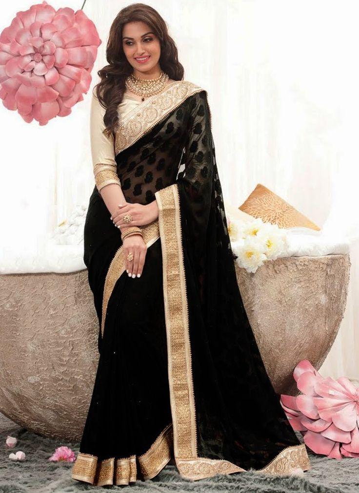 Intriguing Black #Georgette #Jacquard #Saree