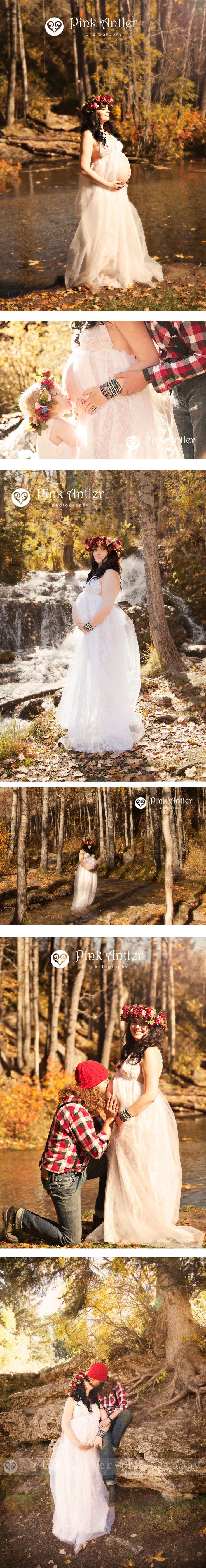Beautiful Fall Maternity Session of an expecting goddess in the forest with waterfall.