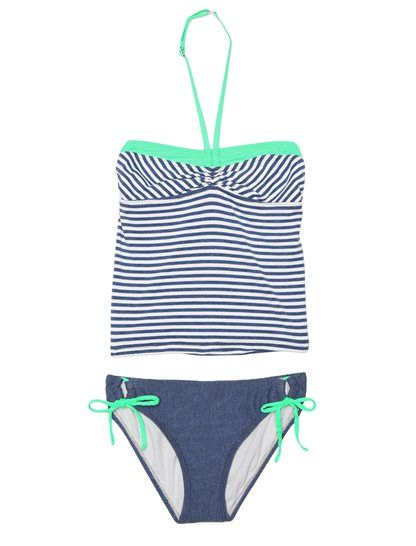 FINAL SALE Adorable sailor tankini set for summer Classic stripes with pops of minty green Perfect for pool time and trips to the beach Halter tankini top Ruch detail at center neckline Adjustable neck strap with back closure Tunnel bottom with classic rise Full coverage