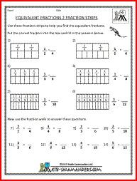 Equivalent fractions worksheet 3rd graders