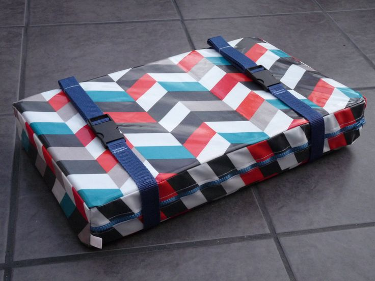 Bespoke, Handmade Chevron Oil Cloth Gig Rowing Boat Seat Pad.