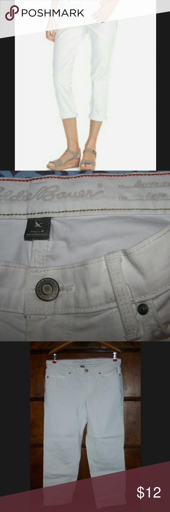Brand New Eddie Bauer Boyfriend Cropped Jeans Brand new never worn or tried on, only removed from plastic for photos.  In perfect condition.  No marks or discoloration at all.  Boyfriend fit is more loose in the hips than regular women's jeans.  Very comfortable, perfect for summer!    OFFERS AND BUNDLES ALWAYS WELCOMED!  HAPPY POSHING! Eddie Bauer Jeans Ankle & Cropped