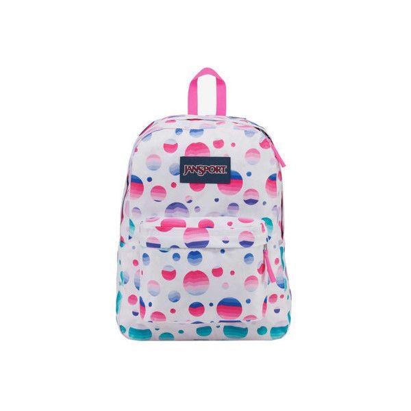JanSport Superbreak Backpack ($36) ❤ liked on Polyvore featuring bags, backpacks, polka dot backpacks, jansport bags, utility bag, dot backpack and polka dot bag