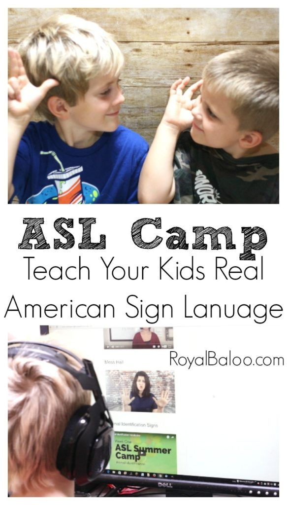 ASL Online Camp for Kids.  Learn real American Sign Language!  4 weeks of videos to teacher common signs and simple grammar.