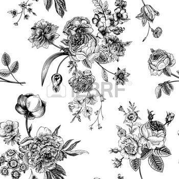 vintage flowers: Nahtlose vektor Muster mit viktorianischen Bouquet von schwarzen Blüten auf weißem Hintergrund. Garten Rosen, Tulpen, Rittersporn, Petunie. Monochrom.