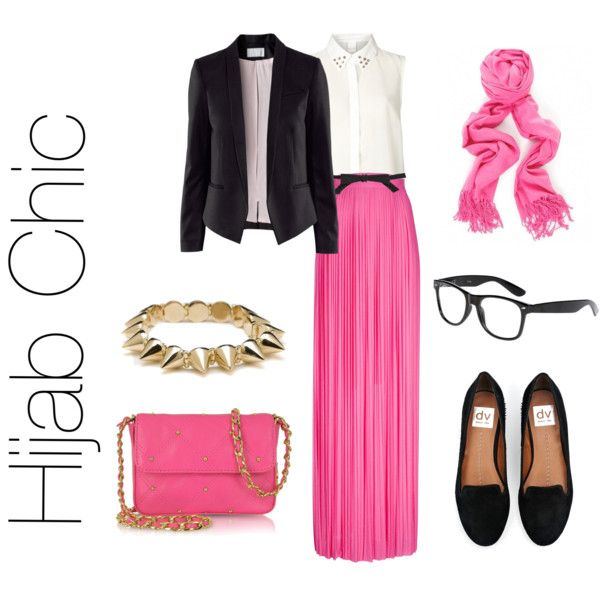 White Top + H M Black Jacket + high waisted pleated skirt #HijabStyle