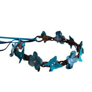 Butterfly and Floral Crown - Teal