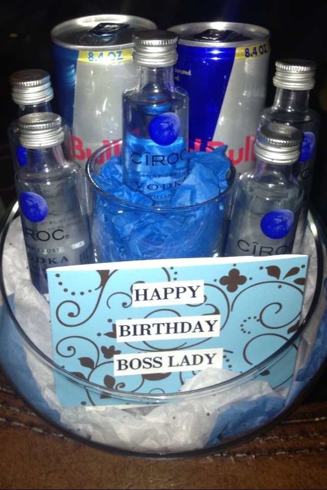 Birthday Booze Basket I made for my boss <3 she loves Ciroc and Red Bull ^_^