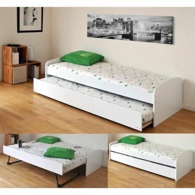 ROMAIN Lit gigogne enfant 90x190 finition blanc - Achat / Vente structure de lit ROMAIN Lit gigogne 90x190 - Cdiscount