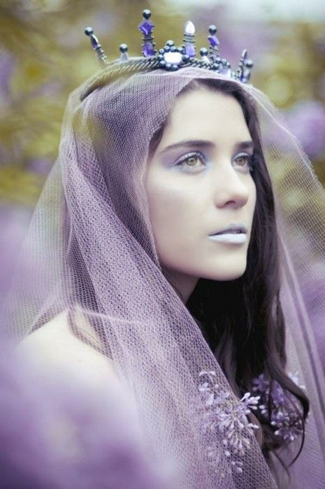 Crown, veil, flowers, lavender.