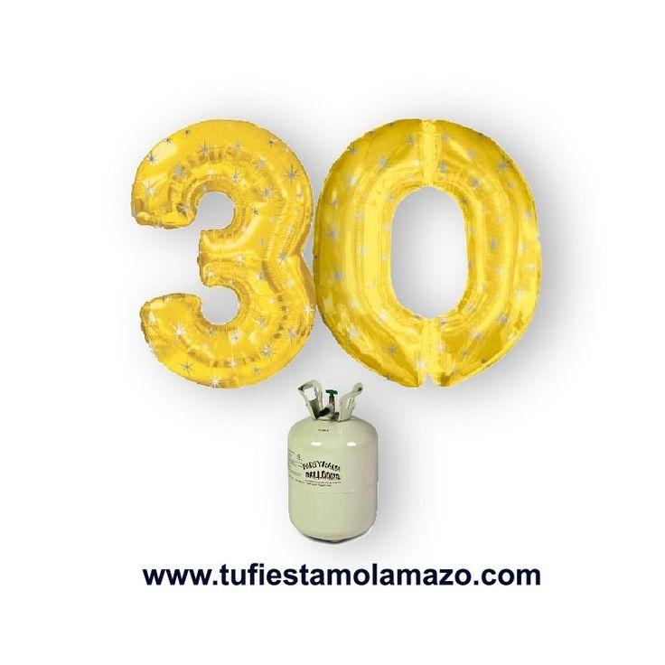 Celebra tu cumpleaños o tu aniversario con nuestro pack de helio con globos de números en el que puedes elegir tu color de globos dorado o plateados www.tufiestamolamazo.com