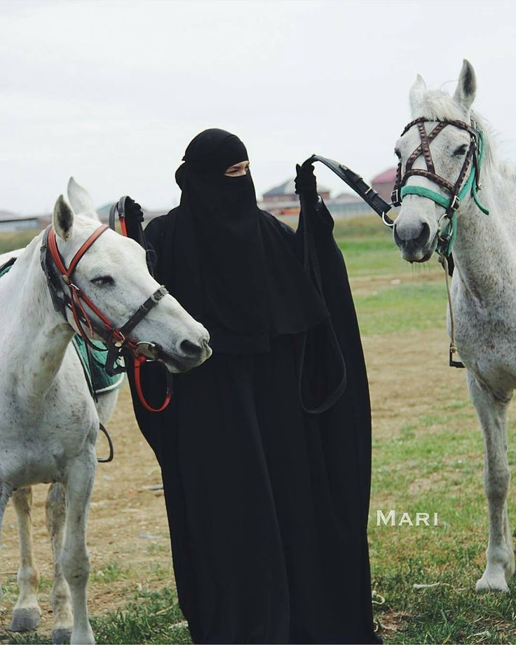 Niqabi wither beautiful white horses