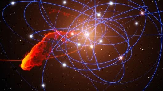 Simulation of gas cloud after close approach to the black hole at the centre of the Milky Way