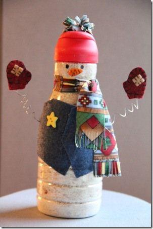 Snowmen out of coffee creamer bottles