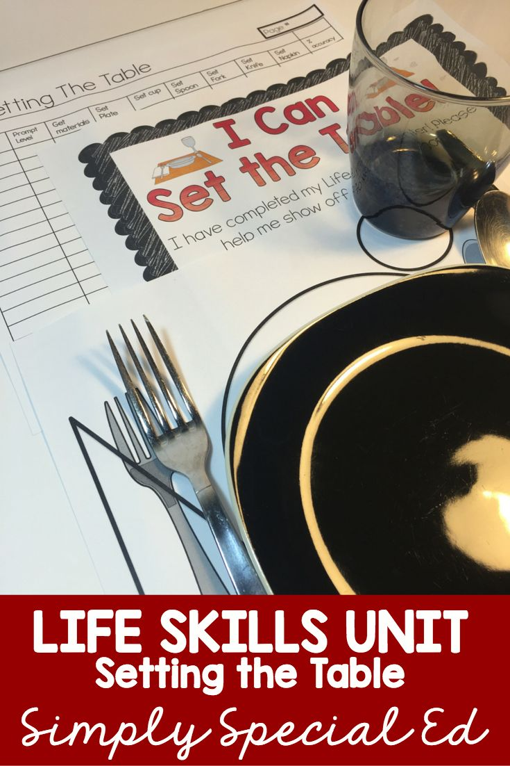 Life skills lesson on setting the table and so much more for students with special needs! Data sheets, visuals and more!