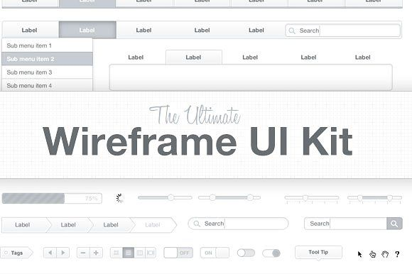 Ultimate Wireframe UI Kit by Medialoot on @creativemarket