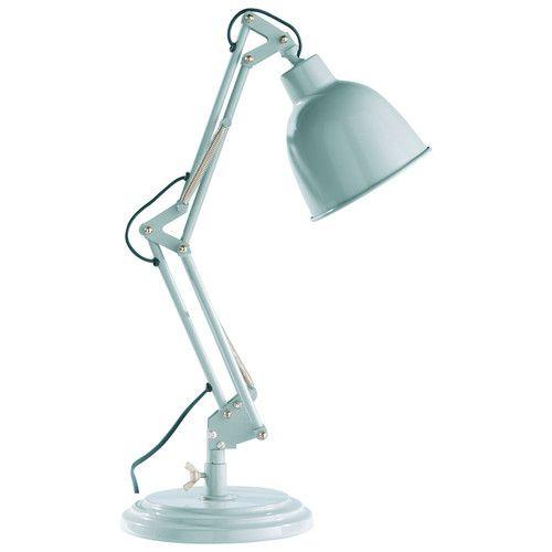 Lampada orientabile blu da scrivania stile industriale in metallo H 49 cm PATERSON