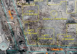 3 World Trade Center, site of the Vista International Hotel, was destroyed by falling debris from the Twin Towers. 4, 5 and 6 World Trade Center were so damaged they had to be demolished.