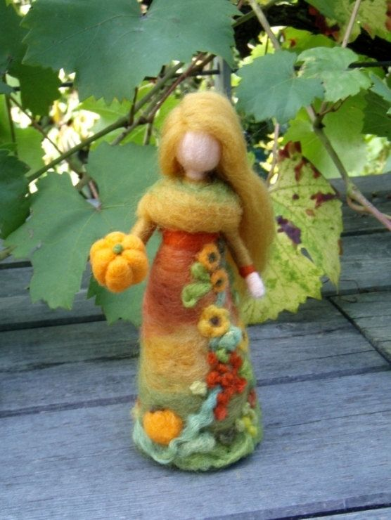 Harvest Fall Fairy Doll Needle Felted Wool Soft Sculpture Waldorf inspired