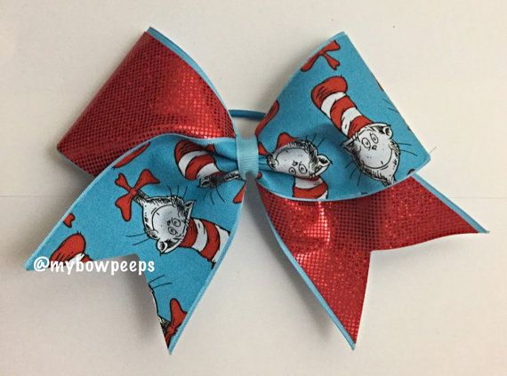 Cat in the hat cheer bow by MyBowPeeps on Etsy